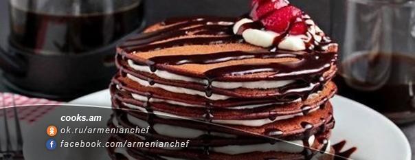 Շոկոլադե տորթ նրբաբլիթներով