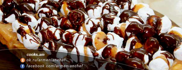 Բիսկվիթային տորթ բեզեով և շոկոլադով